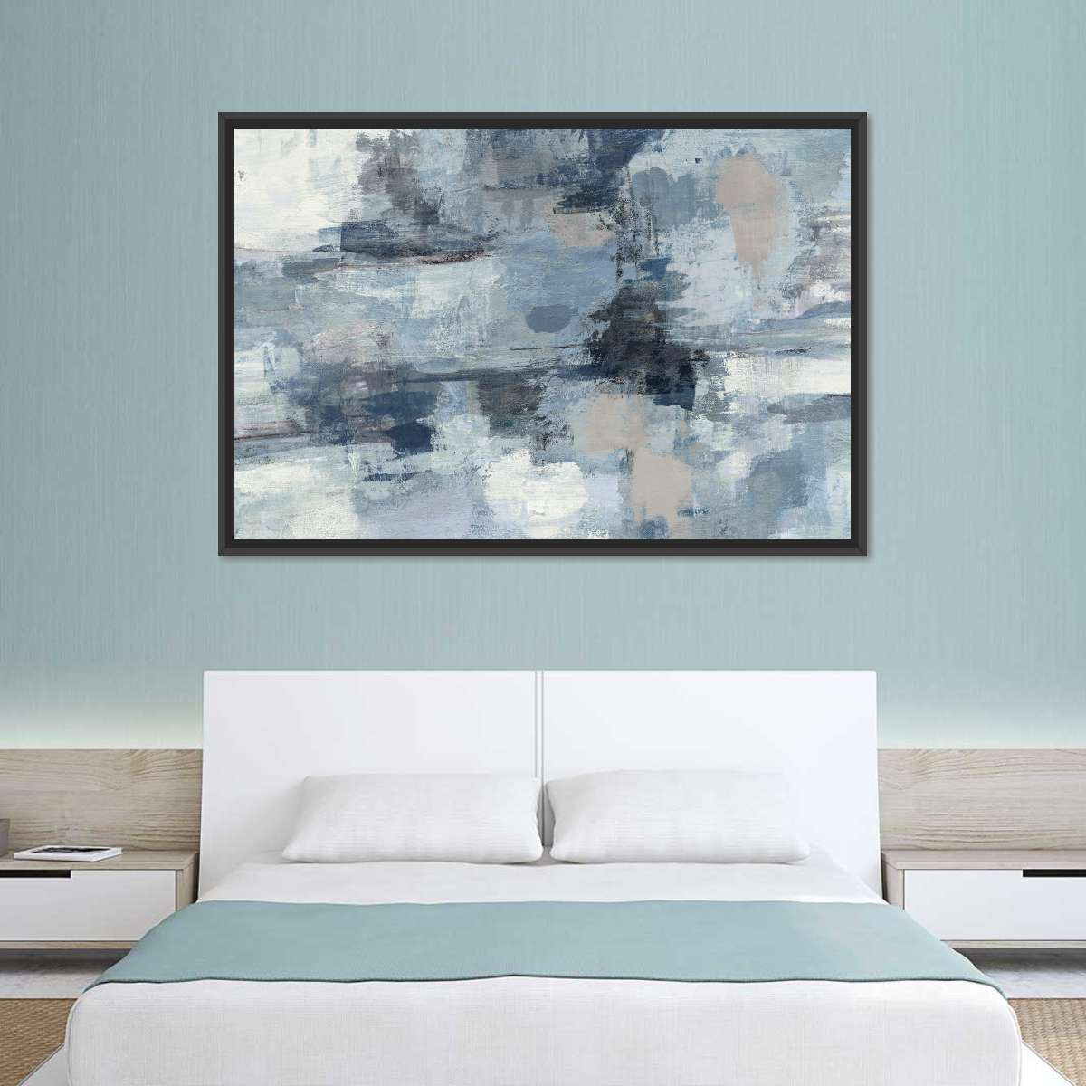 In the Clouds Indigo and Gray Crop Multi Panel Canvas Wall Art