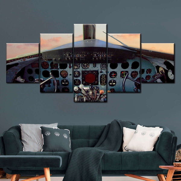 Vintage Cockpit Multi Panel Canvas Wall Art