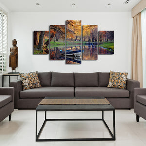 River at Autumn Multi Panel Canvas Wall Art - Nature