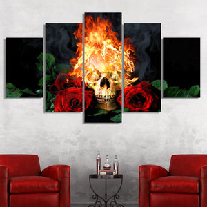 Skull On Fire Multi Panel Canvas Wall Art - Gothic