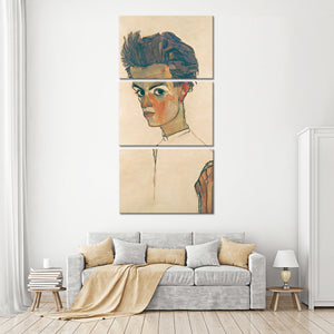 Self Portrait with Striped Shirt Multi Panel Canvas Wall Art - Classic_art