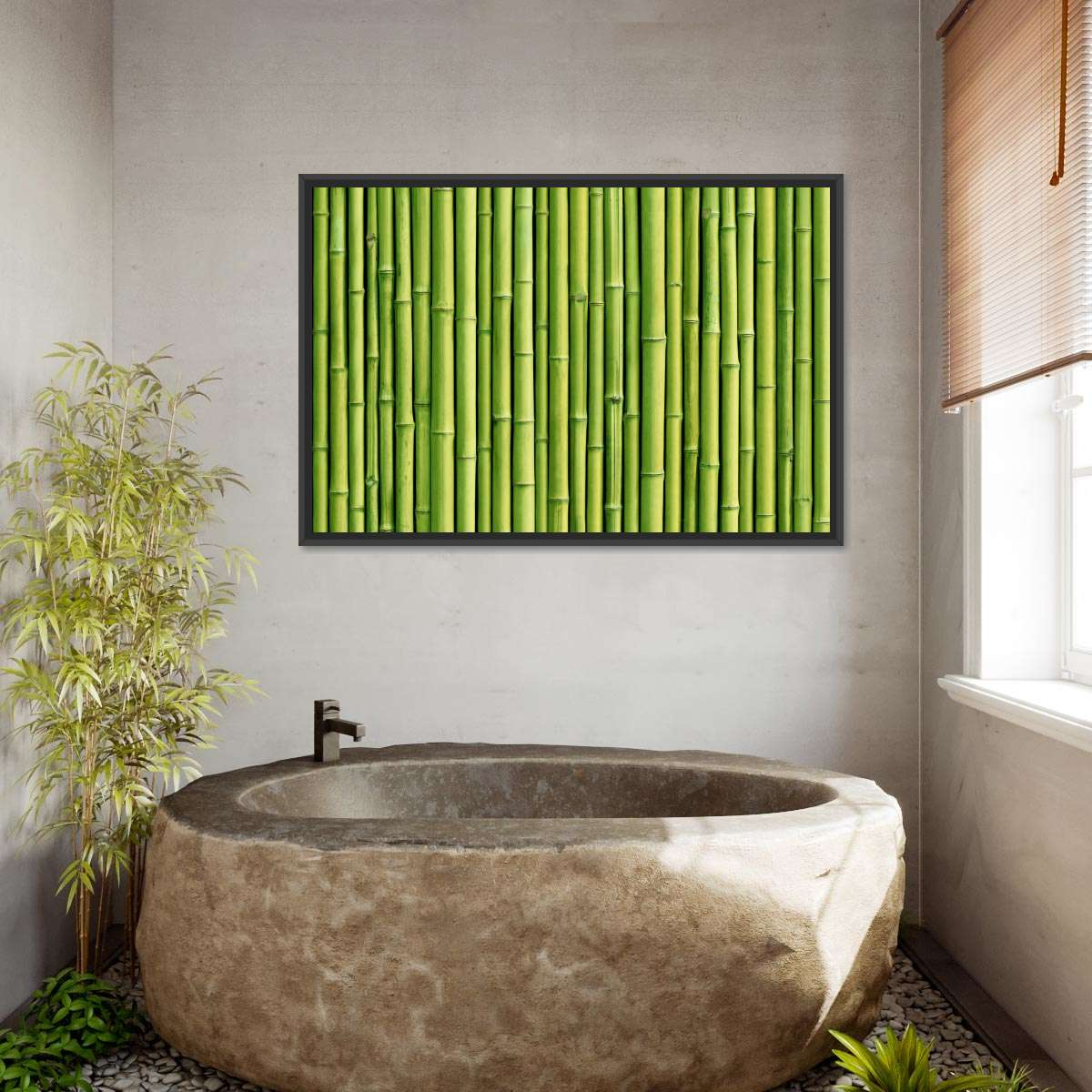 Green Bamboo Fence Multi Panel Canvas Wall Art