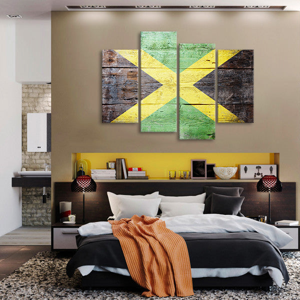 Rustic Jamaican Flag Multi Panel Canvas Wall Art