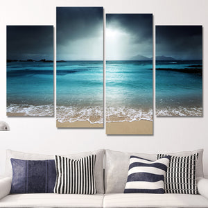 Beach At Twilight Multi Panel Canvas Wall Art - Beach