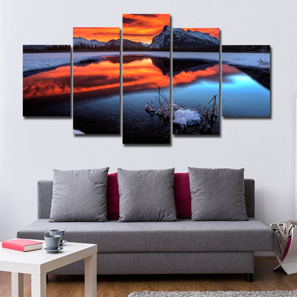 Sunset At Mount Rundle Multi Panel Canvas Wall Art