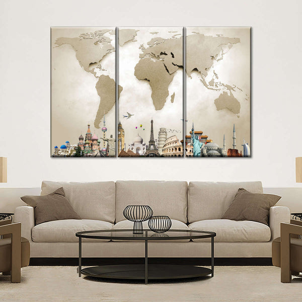 World Map Masterpiece with Church Multi Panel Canvas Wall Art