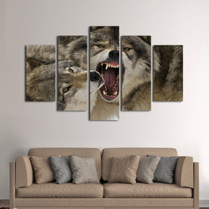 Wolf Bite Multi Panel Canvas Wall Art - Wolf