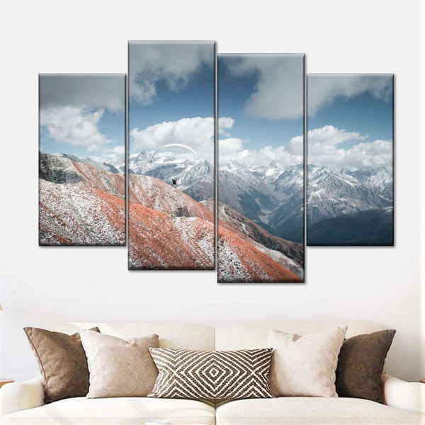 Paragliding Above Himalayas Multi Panel Canvas Wall Art