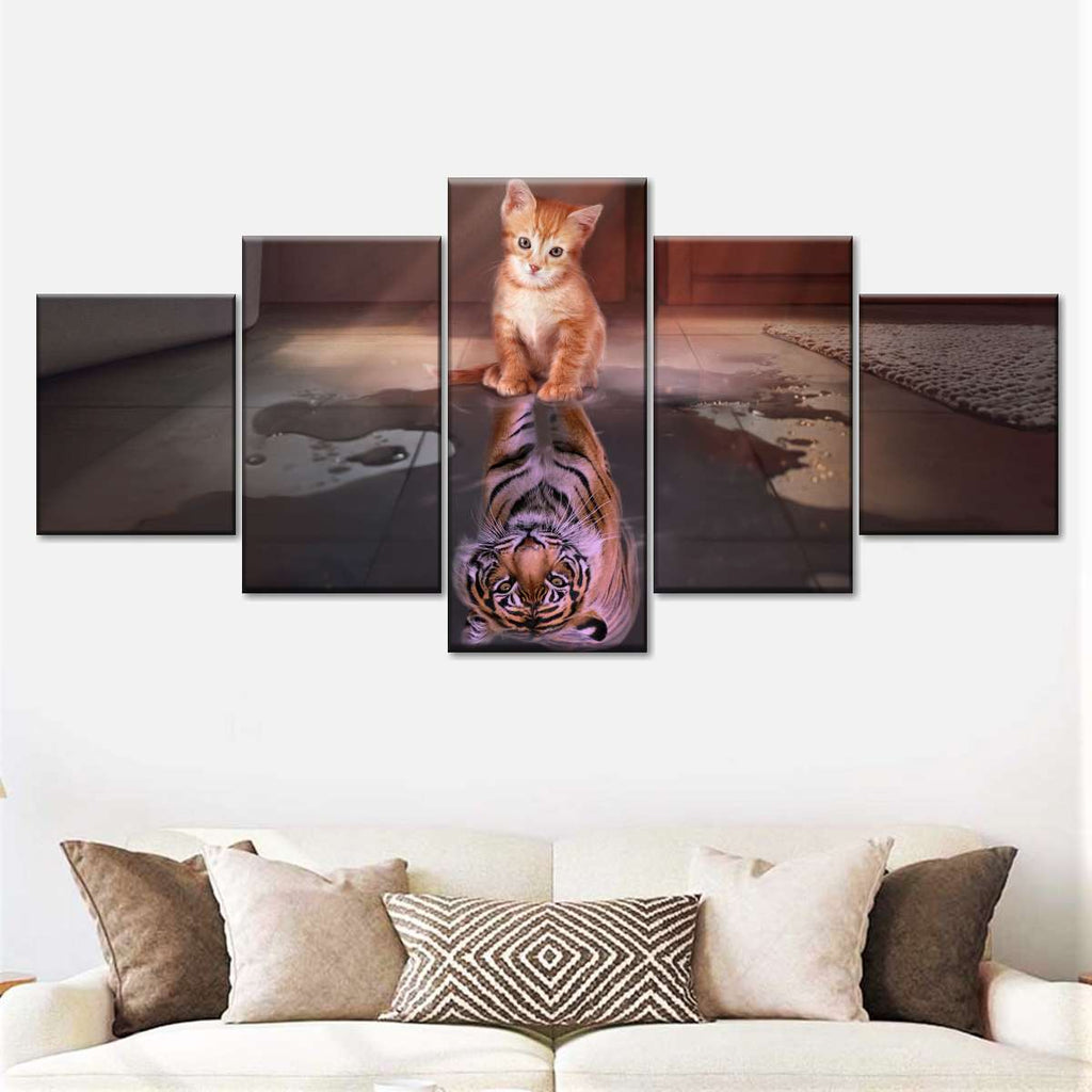 Pictures Canvas Tiger and Kittens 4028 ready to frame wall pictures