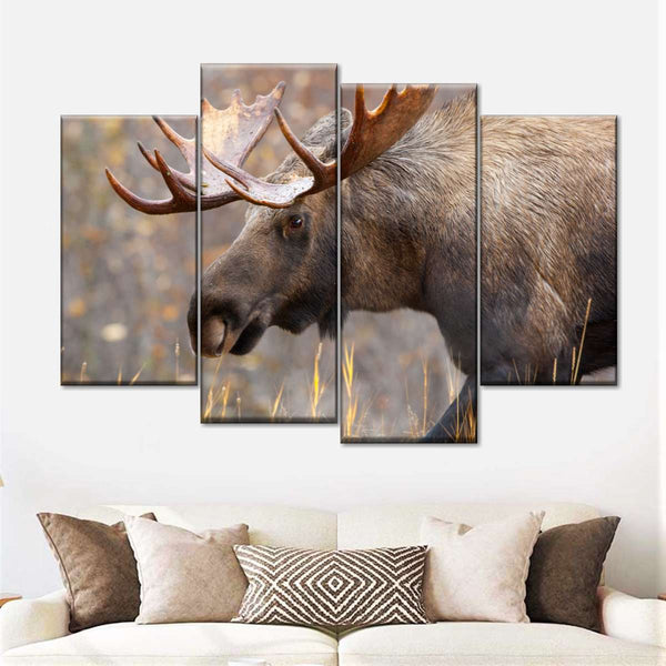Wildlife Deer Canvas Wall Art 3 Panel Moose Hunting Landscape Picture Decor