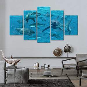 Sharks Multi Panel Canvas Wall Art - Shark