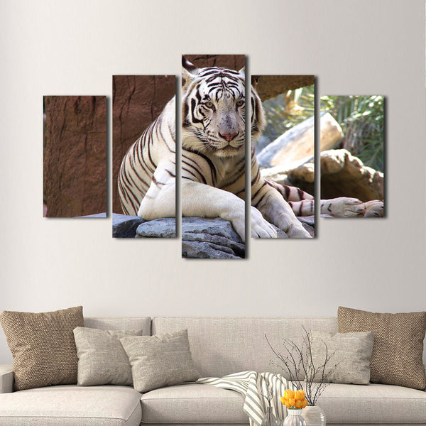 White Tiger Multi Panel Canvas Wall Art