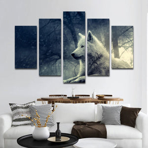 White Wolf Multi Panel Canvas Wall Art - Wolf