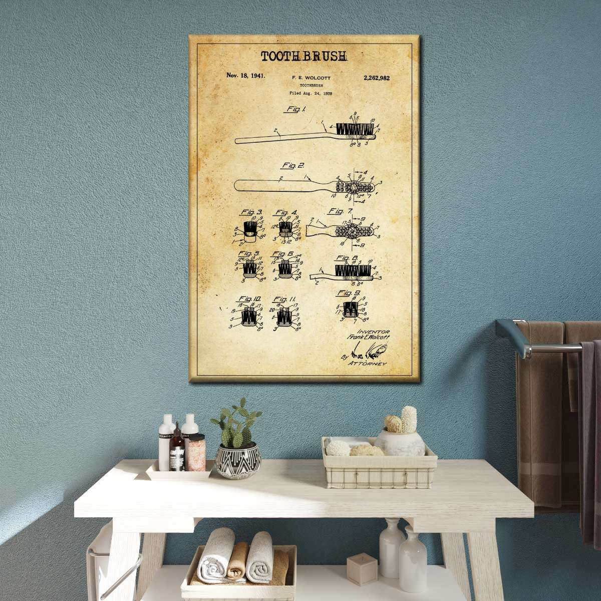 Toothbrush Patent Canvas Wall Art