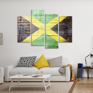 Rustic Jamaican Flag Multi Panel Canvas Wall Art - Jamaica