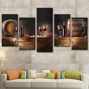 Wine Barrels Multi Panel Canvas Wall Art - Winery