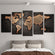 Copper World Map Multi Panel Canvas Wall Art