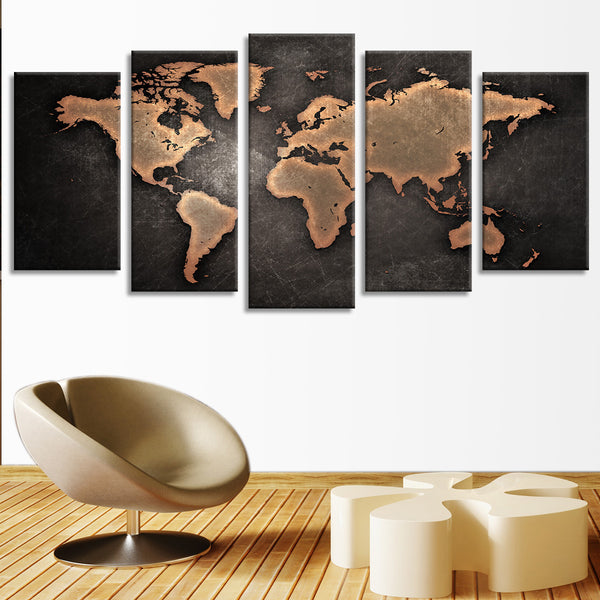 Black And White Canvas Wall Art copper world map multi panel canvas wall art – elephantstock