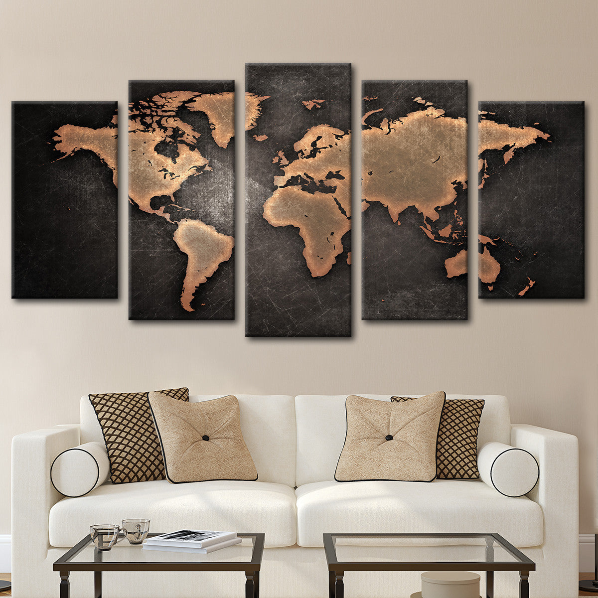 World map canvas prints elephantstock copper world map multi panel canvas wall art worldmap gumiabroncs Image collections