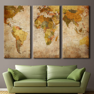 World Map Multi Panel Canvas Wall Art - World_map