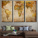 World Map Multi Panel Canvas Wall Art