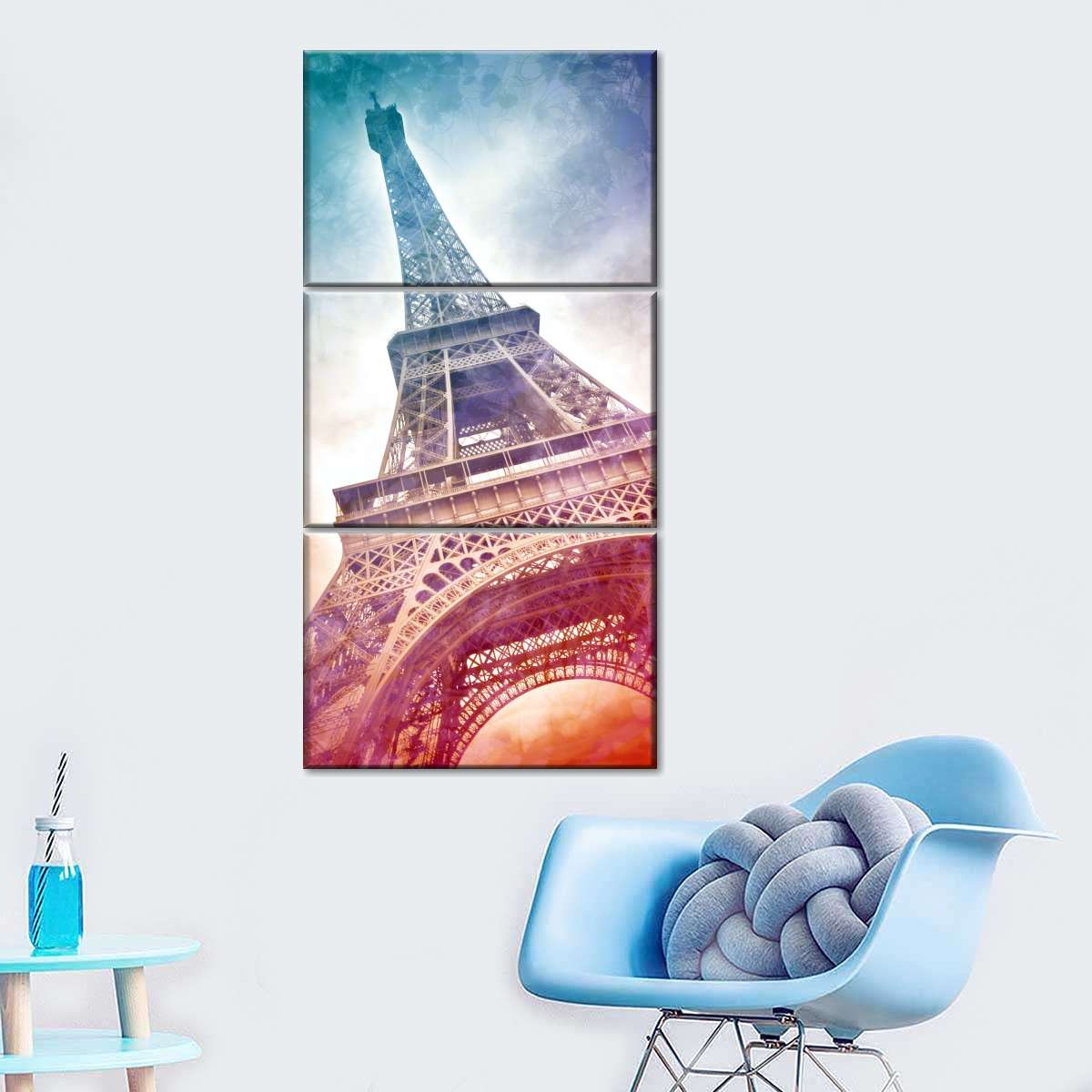 Vibrant Eiffel Tower Multi Panel Canvas Wall Art
