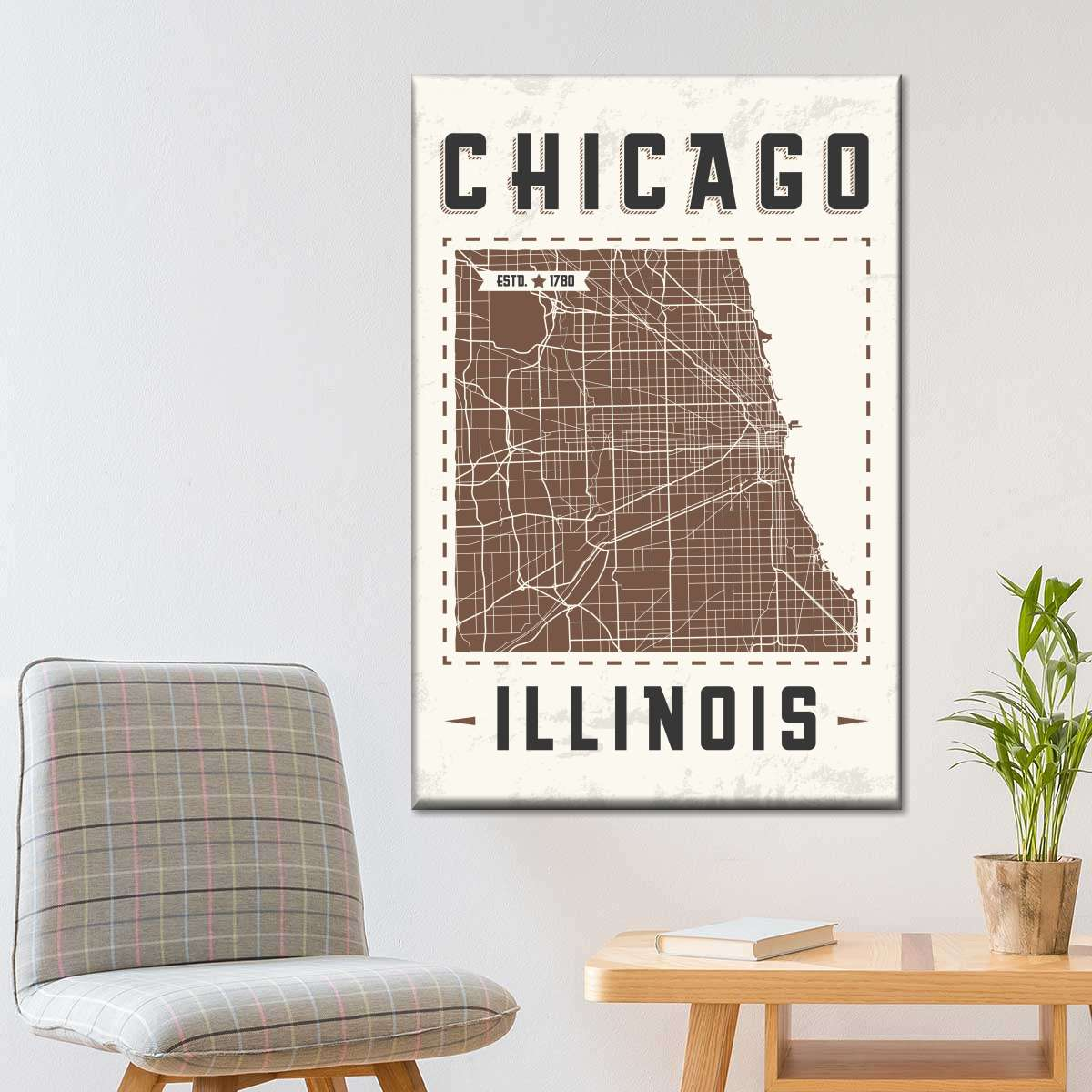 Chicago Map Multi Panel Canvas Wall Art