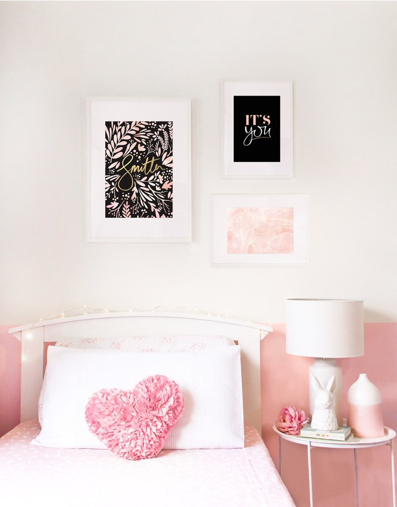 intricate art prints - hand written typography - water colour smitten, marble blush