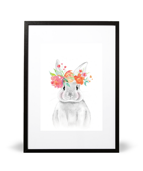 Bunny and Blossoms Illustrative Print - Intricate Collections