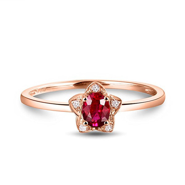 Pretty Women Natural Ruby 14K Rose Gold Wedding Promise Ring