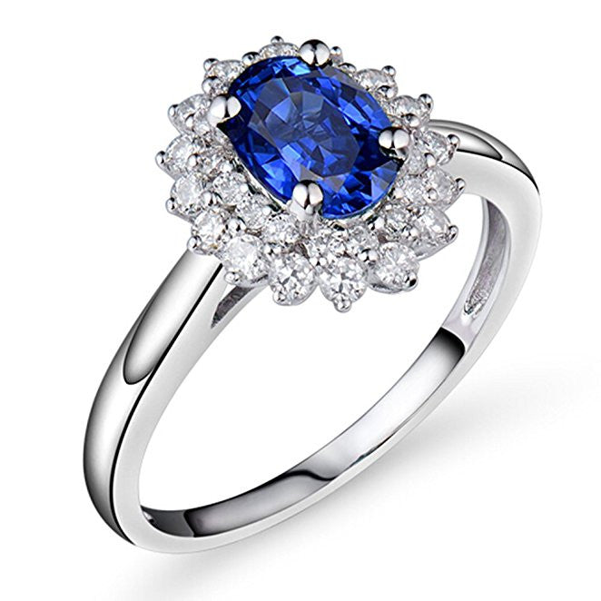 Vintage Solid 14K White Gold Diamond Sapphire Engagement Wedding Ring
