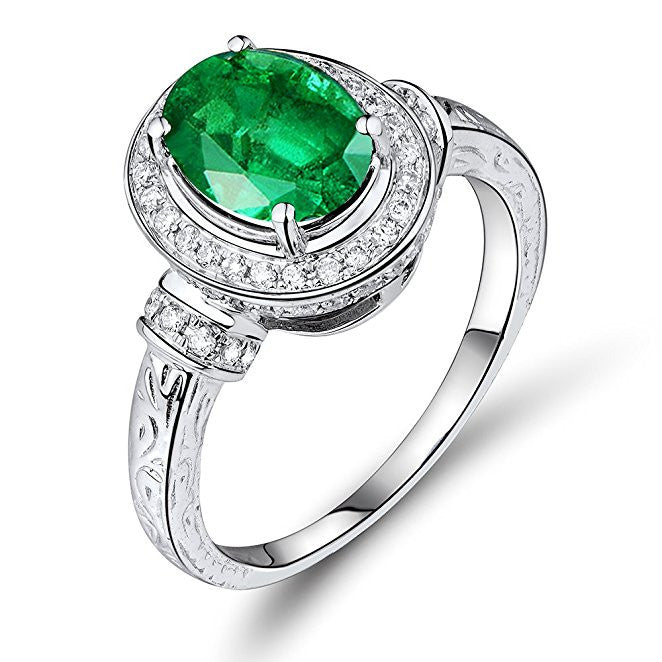 Antique Emerald Gemstone Real Pave Diamond Gold White 14K Bridal Ring