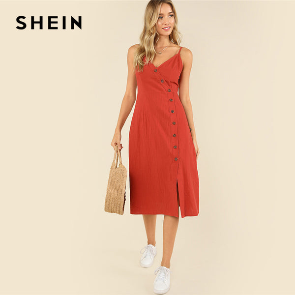 78dd1df448 SHEIN Rust Weekend Casual Backless Spaghetti Strap Sleeveless Buttoned Wrap  Front Cami Summer Solid Long Dress