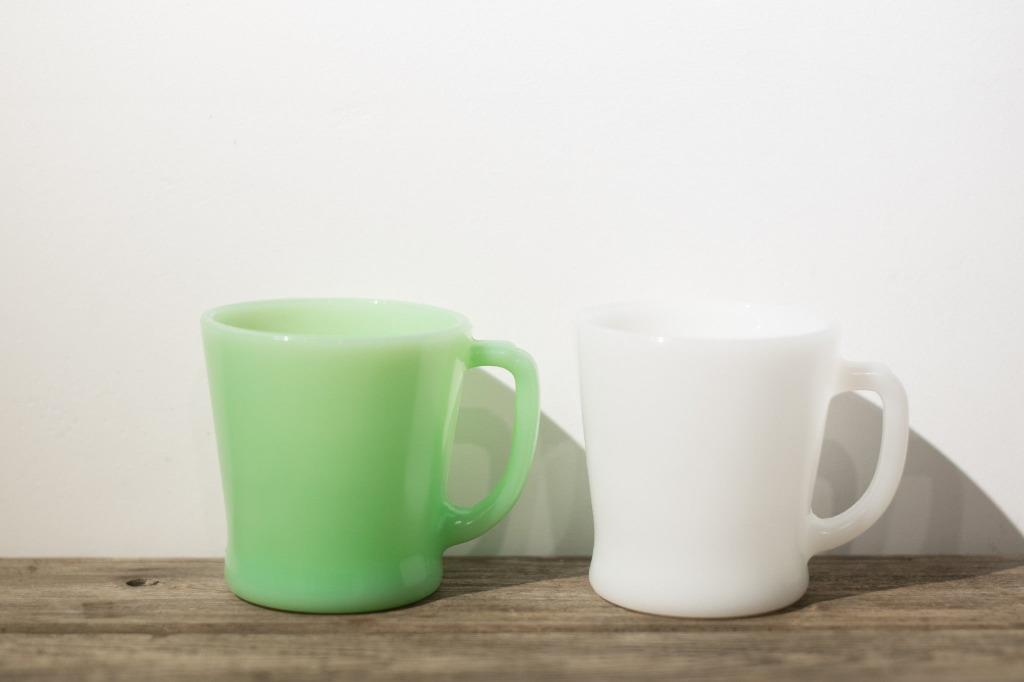 Fire King Jadeite & White D Handle Mug Set of 2