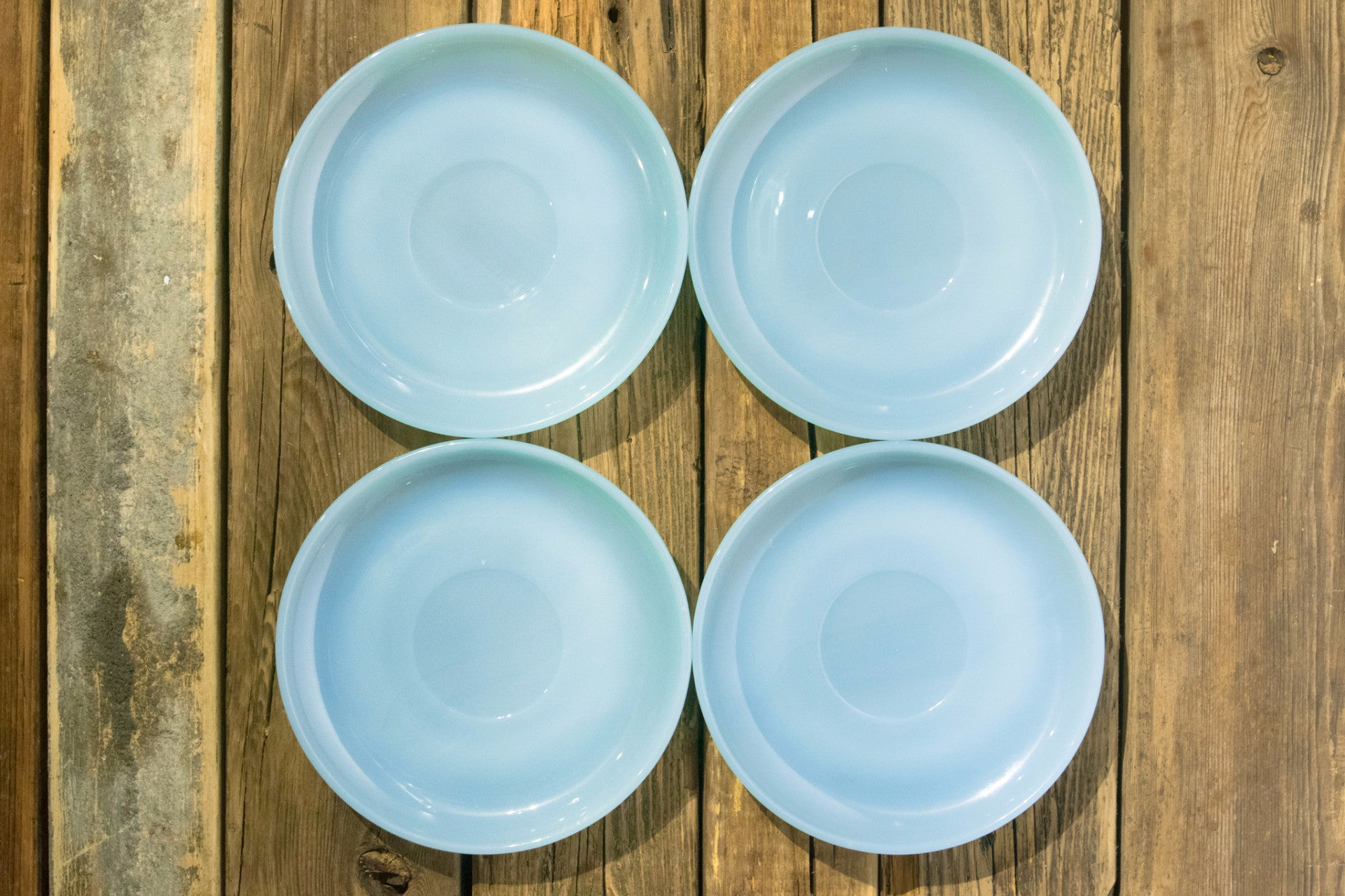 Deadstock Turquoise Blue 12 Pieces Dinnerware Starter Set 1950's