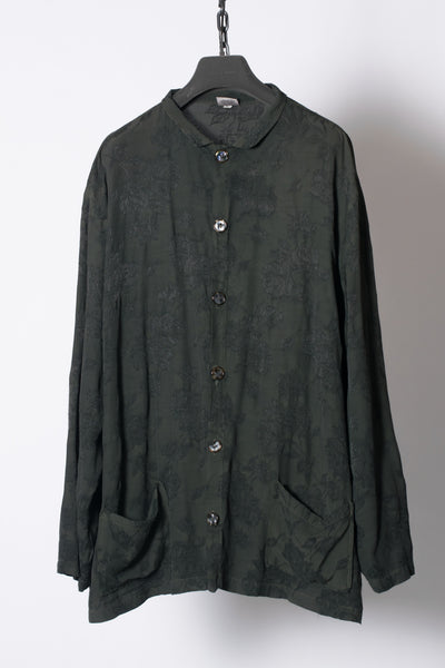 Green Embroidery Oversized Rayon Shirt