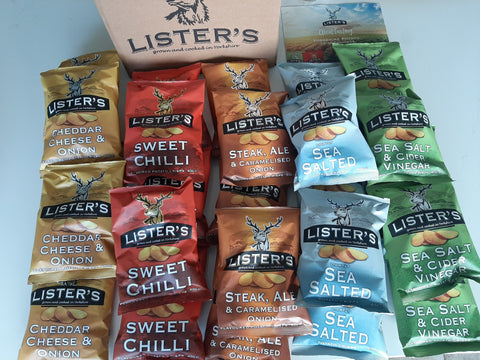 Listers Crisps Mixed Box 5 Flavours 25x40g