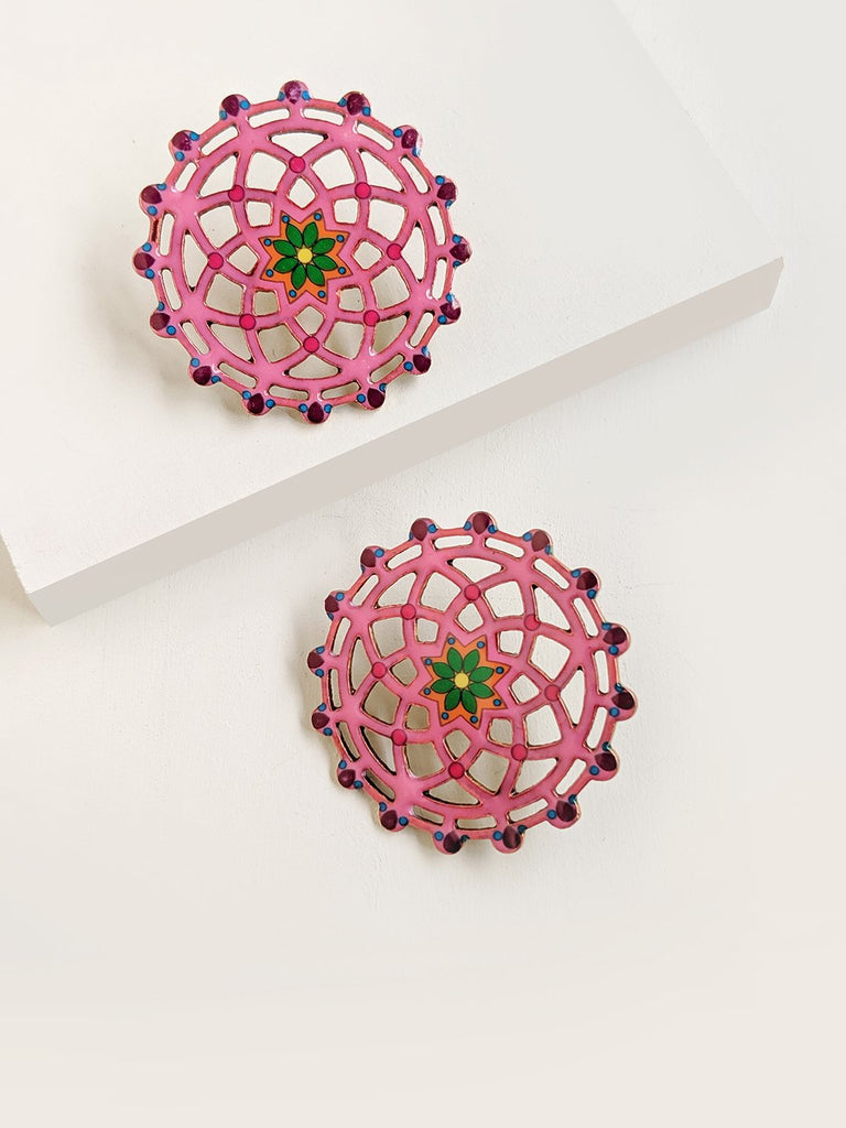 Mandala Enamel Stud Earrings