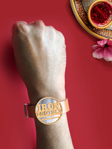 Rose Gold Iron Brother Magnet Rakhi
