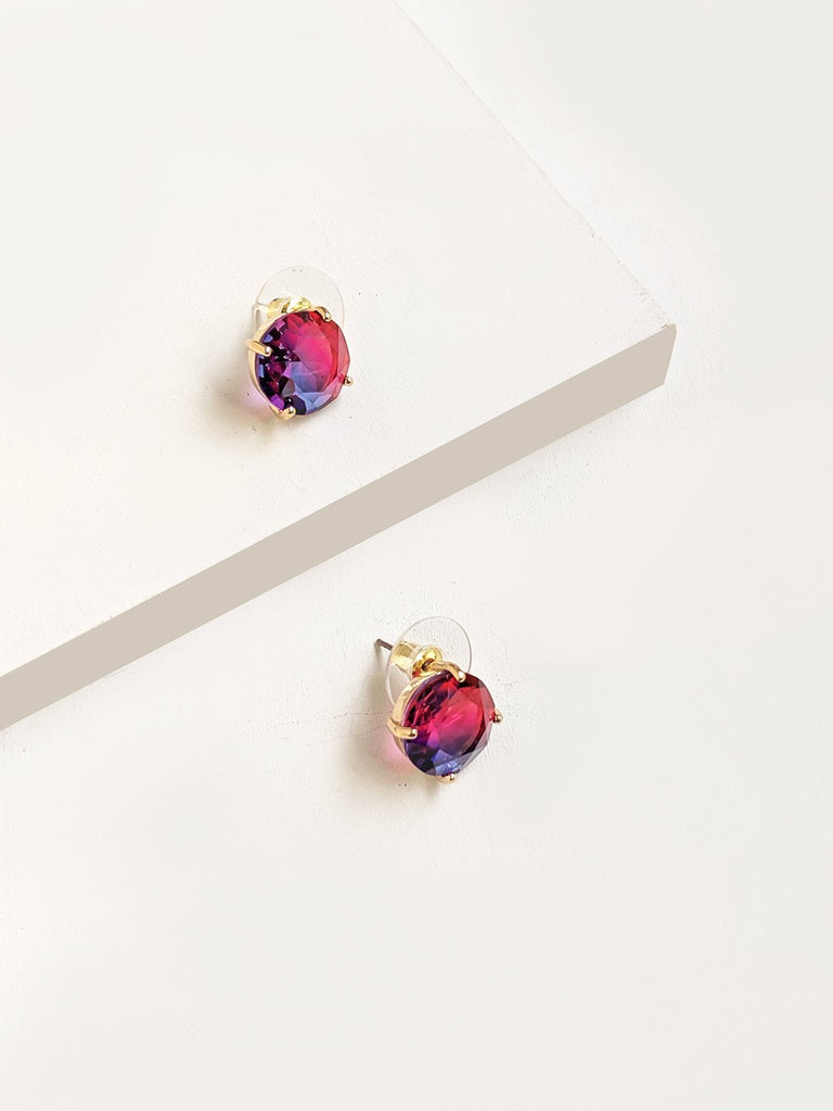Aurora Borealis Blue Pink Stud Earrings