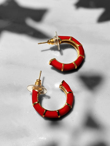 Shellac Mini Red Enamel Earrings