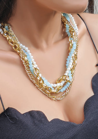 Pretzel Blue Necklace
