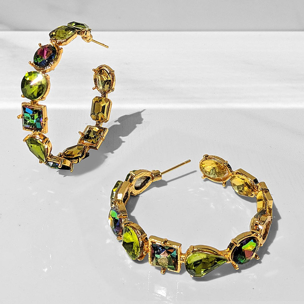 Fior Inside-out Crystal Hoop Earrings (green)