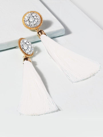 Crystal Tassel Earrings (White)
