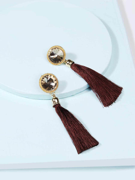 Crystal Scarlet Tassel Earrings