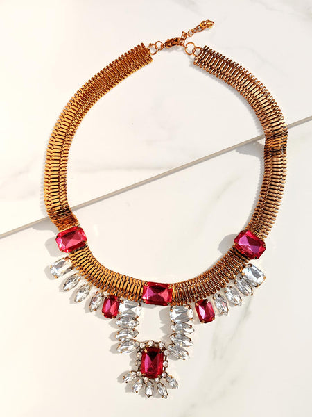 Rolling Stone Necklace Pink
