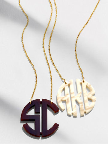 Small Block Monogram Acrylic Necklace
