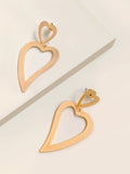 Open Heart Dangler Earrings
