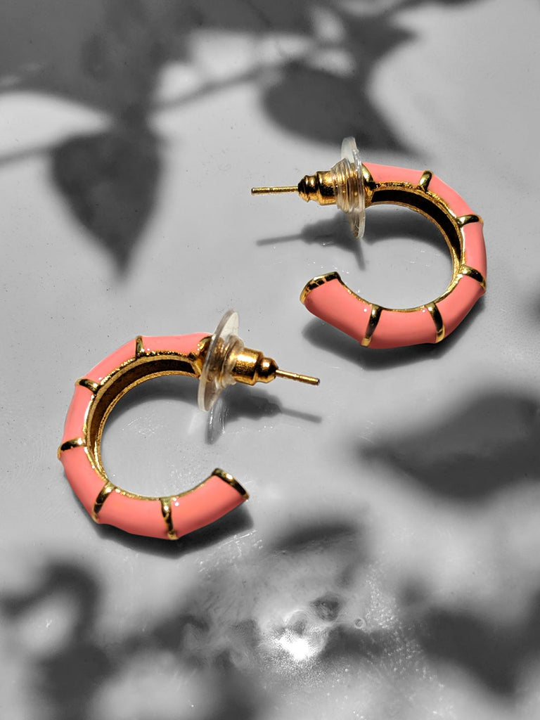 Shellac Mini Peach Enamel Earrings