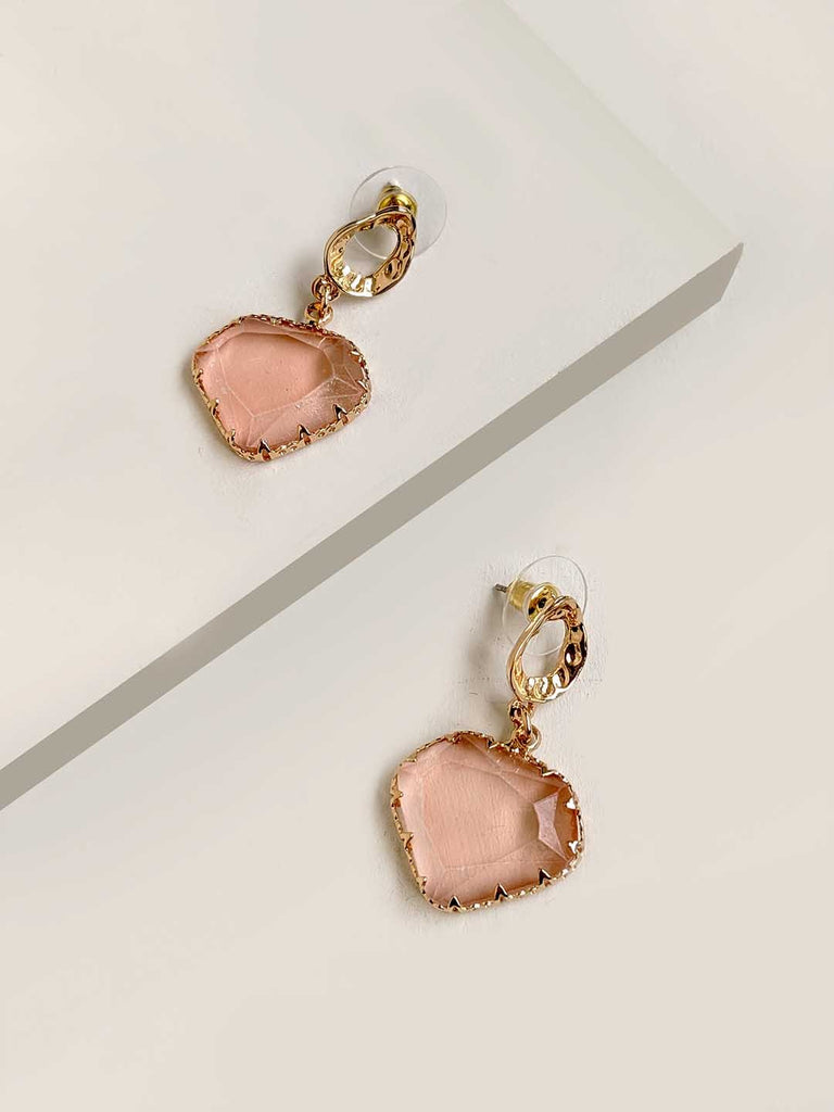 Hold Tight Peach Drop Earrings
